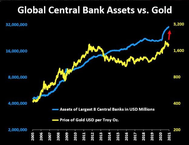 Central bank assets vs gold 2021 02 17