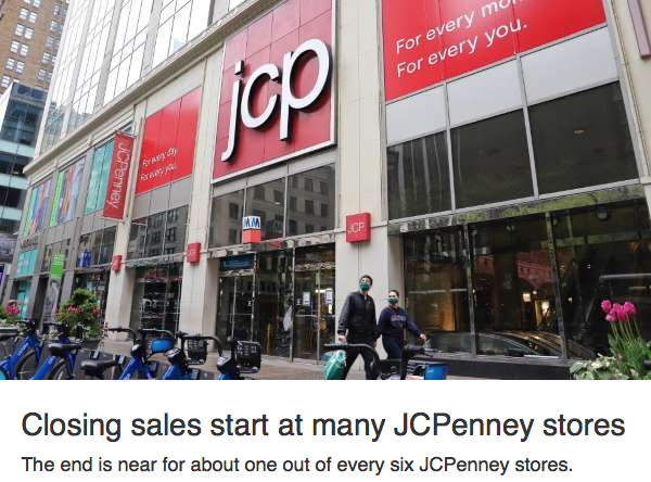 closing sales JCPenney